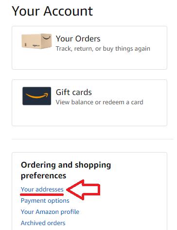 screenshot Konto Einstellungen im Amazon Konto - Lieferadresse Usa