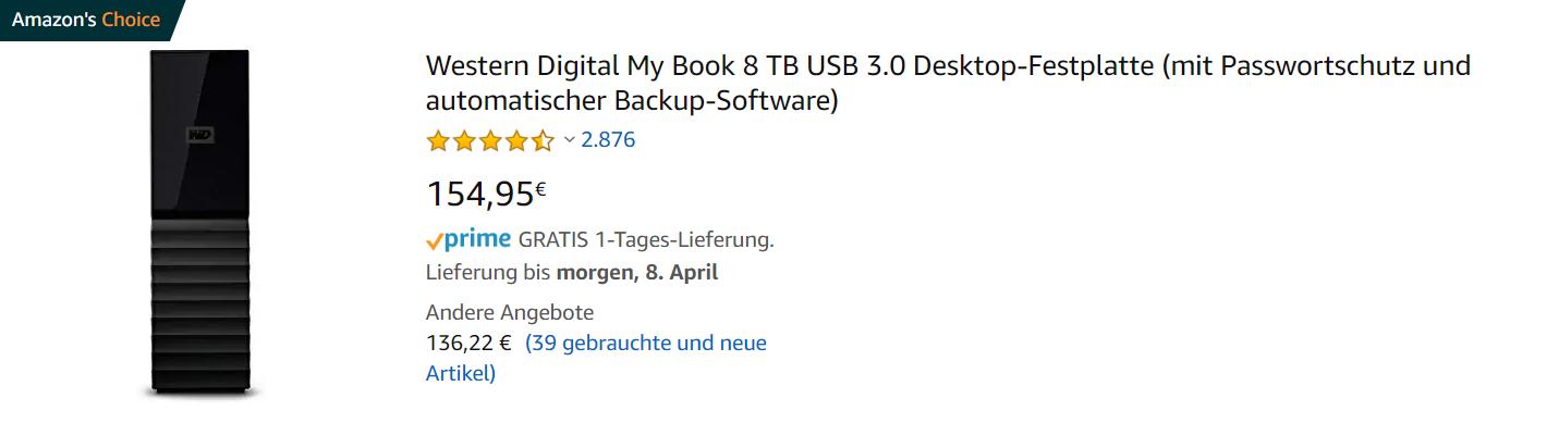 Bestellung-Preis externer Festplatte Western Digital 8TB bei Amazon.com in den USA