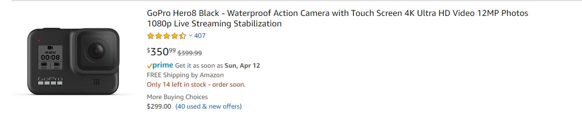 Bestellung-Preis Kamera GoPro Hero 8 Black bei amazon.com in de USA