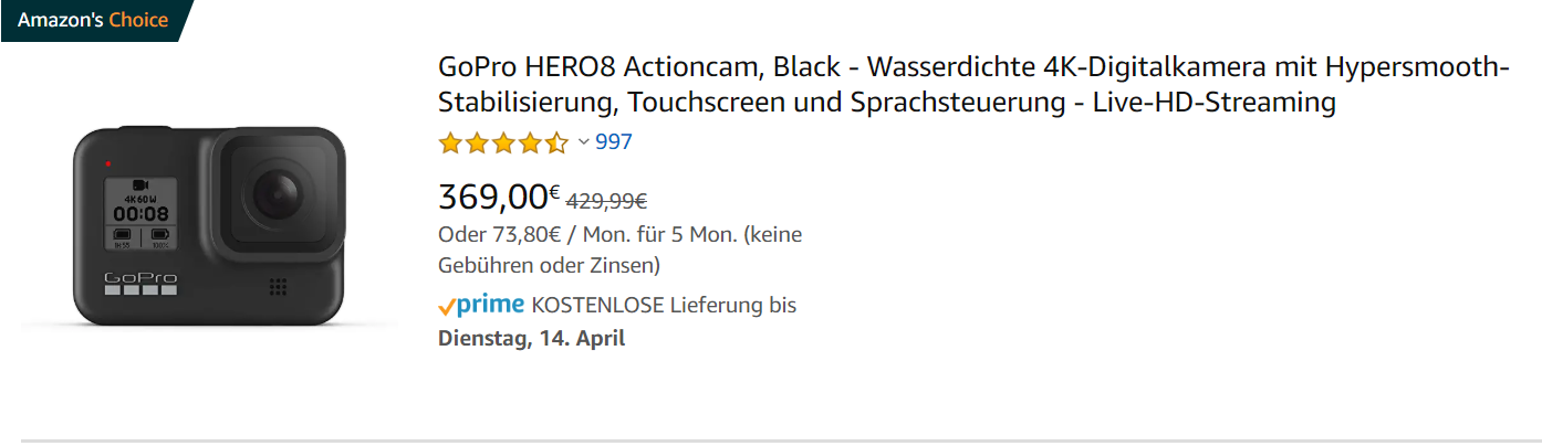Bestellung-Preis Kamera GoPro Hero 8 Black bei amazon.de