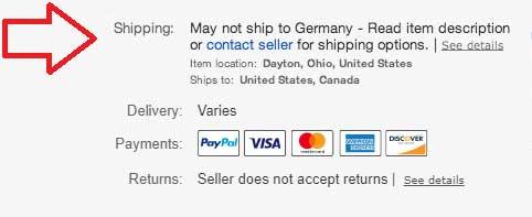 Meldung eBay in den USA könnte nach Deutschland nicht liefern