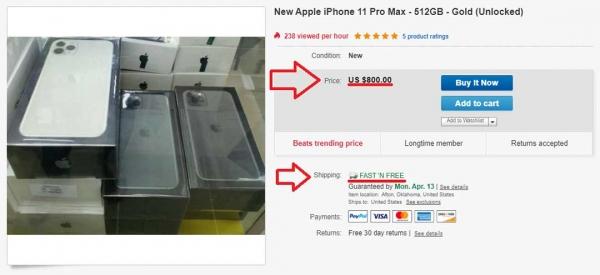 günstiger Preis iPhone 11 Pro Max bei eBay in den USA